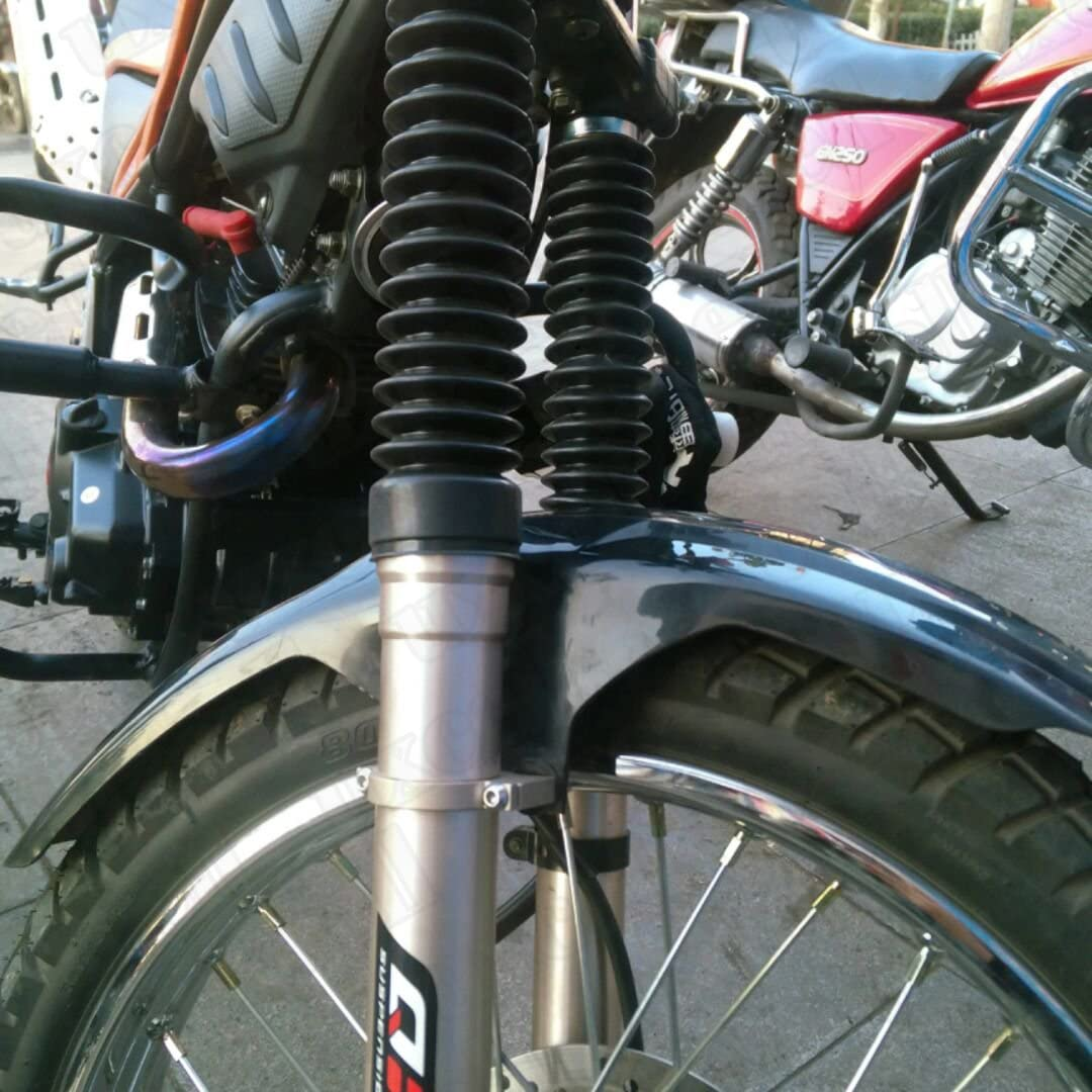 sourcing map Pair 26cm Motorcycle Front Fork Cover Shock Absorber Dust Rubber Cover Black
