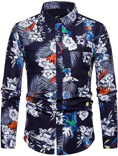 Sencillo Vida Camisa de Estampada para Hombre Manga Larga Casual Slim Fit Camisas de Hombre de Vestir Delgada Camisa Hombres Clásico Cuello de Solapa con Botones Camiseta Básica para Hombre Shirts: Amazon.es: