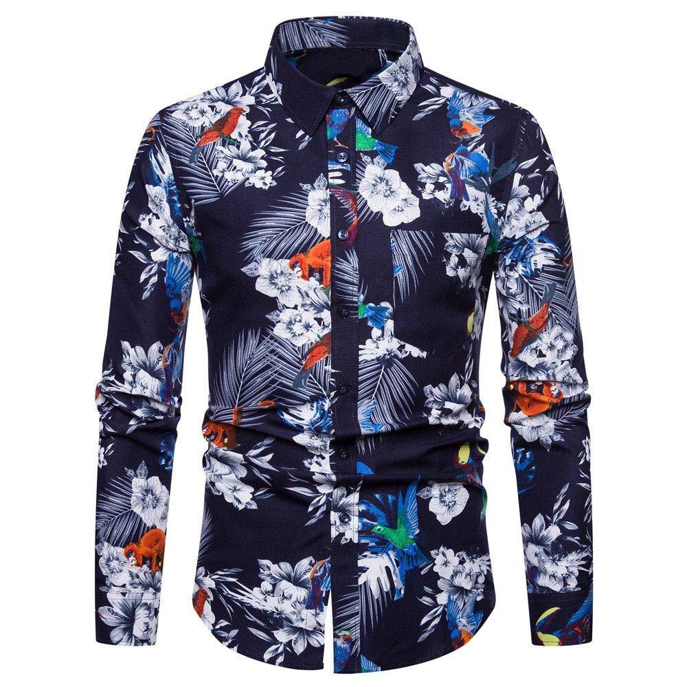 LuckyGirls Camisas Formales Blazers de Hombre Manga Larga Negocio Moda Estampado de Flores Camisetas Casual Entallada Remeras de Trajes