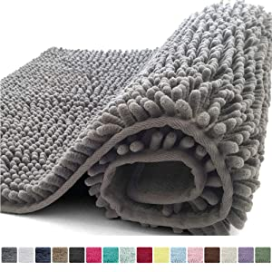 Kangaroo Plush Luxury Chenille Bath Rug, 30x20, Extra Soft and Absorbent Shaggy Bathroom Mat Rugs, Washable, Strong Underside, Plush Carpet Mats for Kids Tub, Shower, and Bath Room, Gray
