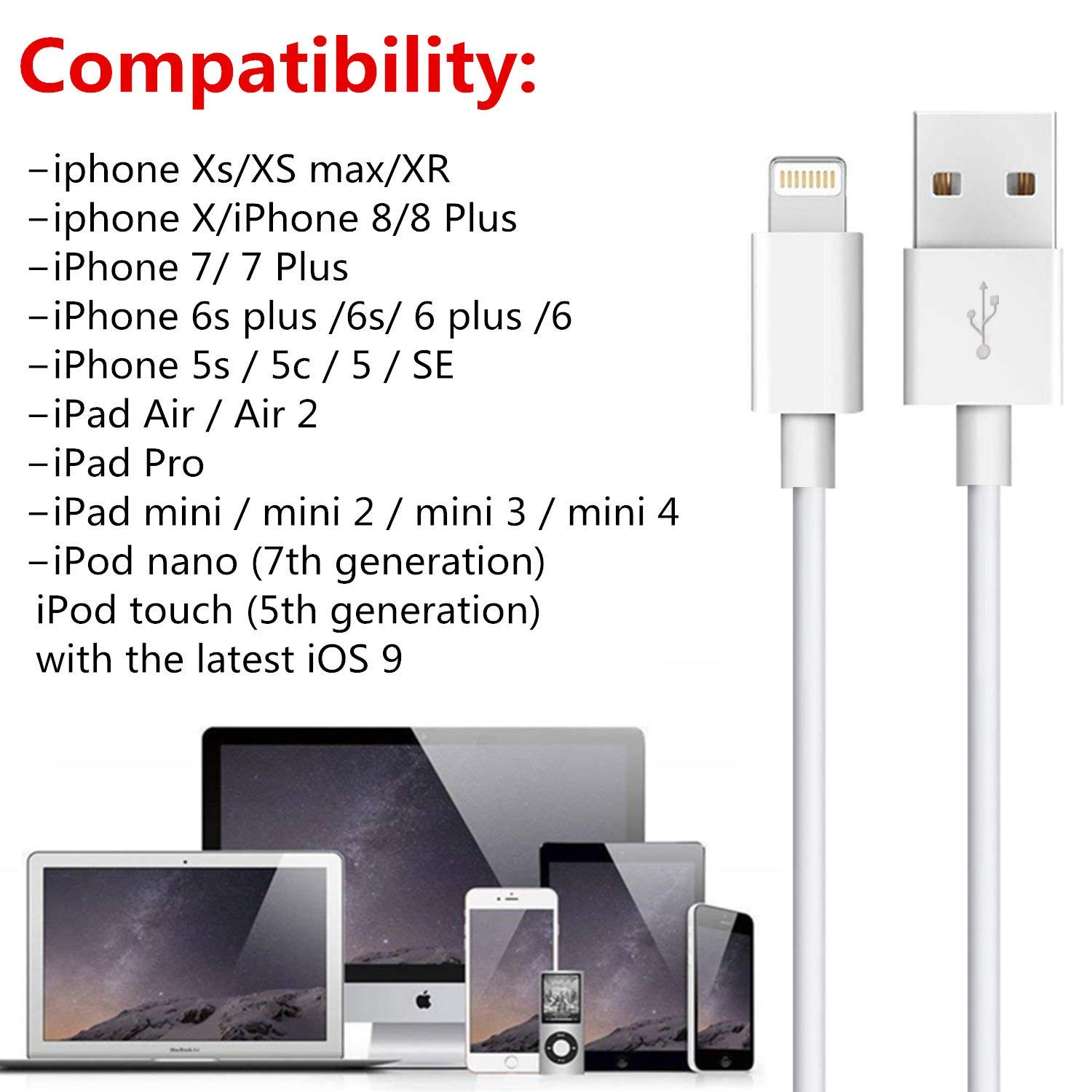 Infinite Power 5 Pack 3FT USB Cable Charging Cord Compatible with Apple iPhone Xs,Xs Max,XR,X,8,8 Plus,7,7 Plus,6S,6S Plus,iPad Air,Mini//iPod Touch//Case MFI Certified iPhone Charging Cable Set