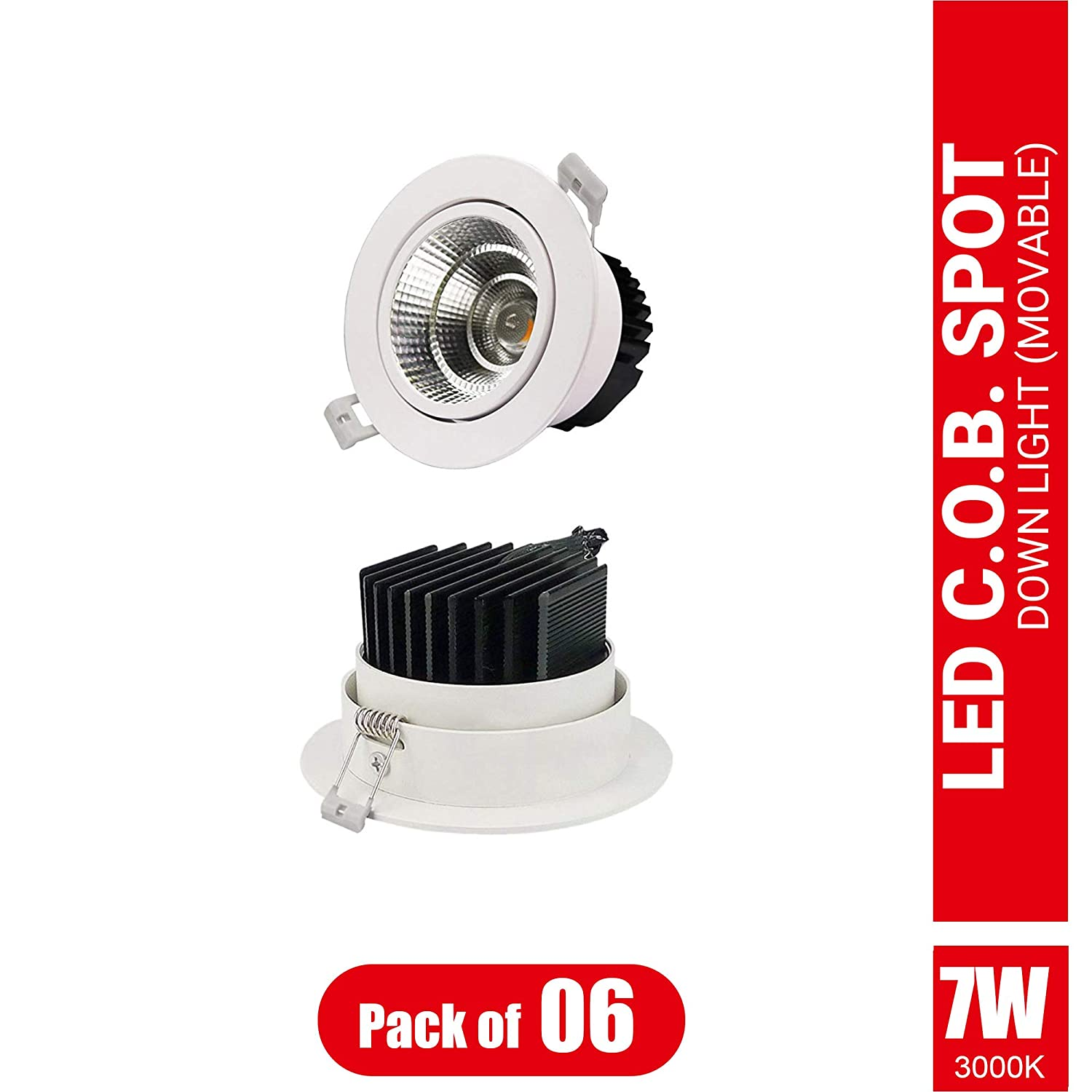Imee Extra Bright Movable COB Down Light, 7 Watts, Toughened