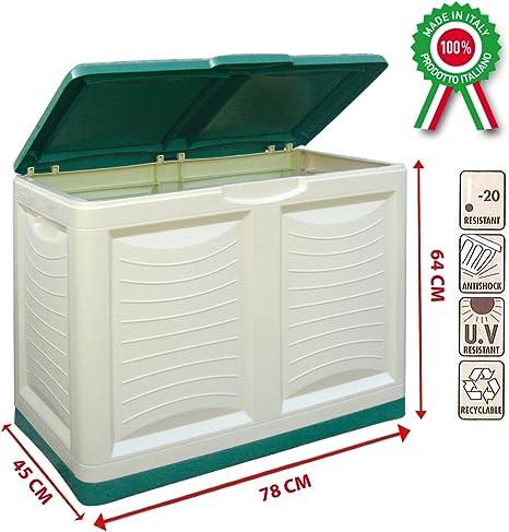 Baúl contenedor en dura resina de plástico para jardín, exterior, interior, verde y beige: Amazon.es: Hogar