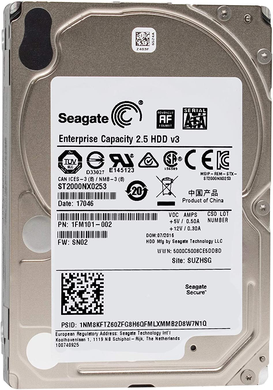 Seagate Enterprise Capacity 2.5 2TB 7200RPM SATA 6Gb/s 2.5-Inch Hard Drive (ST2000NX0253)