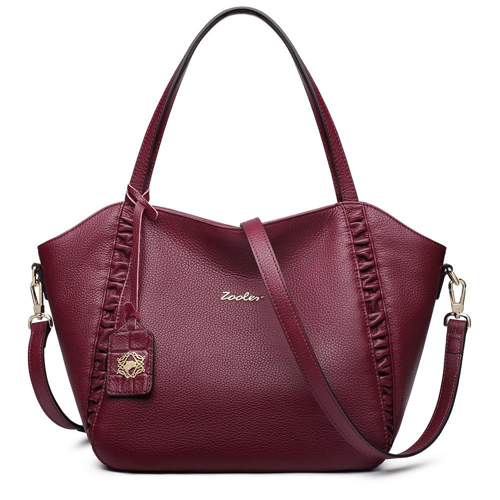 ZOOLER Womens Leather Handbag Shoulder Bags Top Handle Bag Fashion Style (Wine Red)