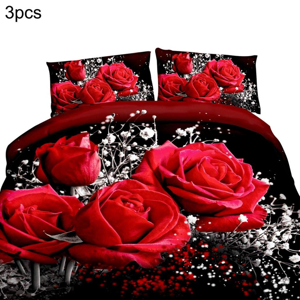 EIKdoulf02 2/3Pcs 3D Rose Flower Oil Painting Duvet Cover Pillow Case Bedroom Bedding Set - Red Large 3Pcs
