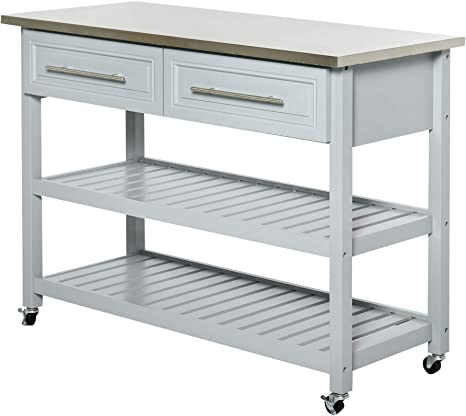 Amazon Com Homcom Rolling Kitchen Island Cart With Drawers Shelves And Stainless Steel Top Grey Kitchen Islands Carts
