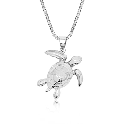 Amazon sterling silver turtle honu necklace pendant with 18 sterling silver turtle honu necklace pendant with 18quot aloadofball Images