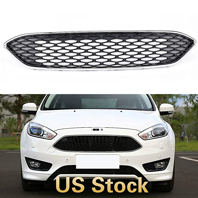 For Ford Focus 2015 2016 Chrome Upper Centre Grille Front Bumper ABS Grill Cover