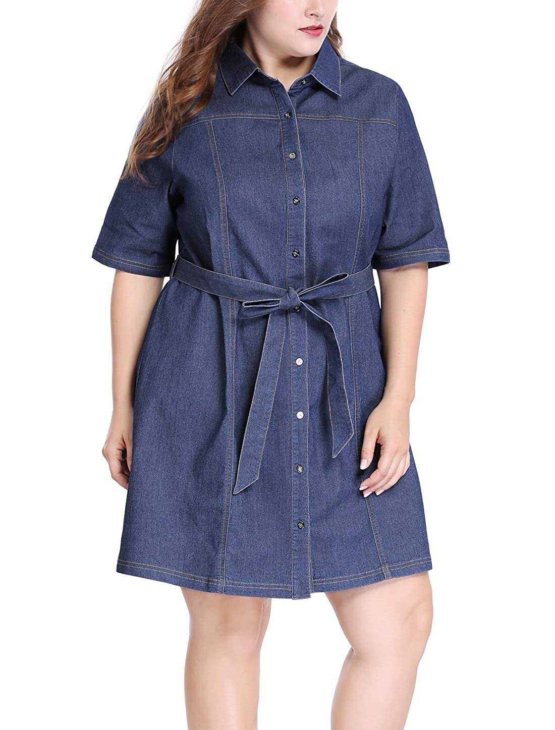 fffa648505c Womens Belted Denim Shirt Dress