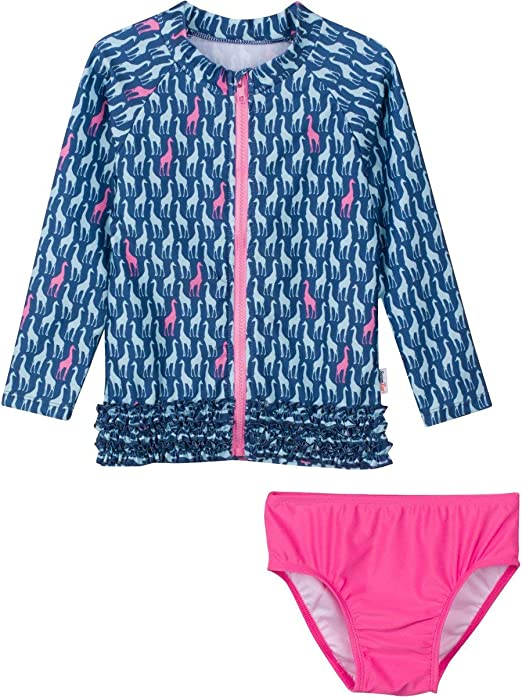SwimZip Girls Long Sleeve Rash Guard /& 1 Piece Suit Sweet Pineapple Orange