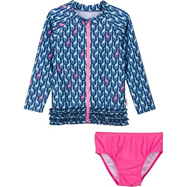 f6a5140ca4175 Amazon.com: SwimZip Little Girl Zipper Long Sleeve Orange Rash Guard 2 Piece  Swimsuit Set Surfing Safari: Clothing
