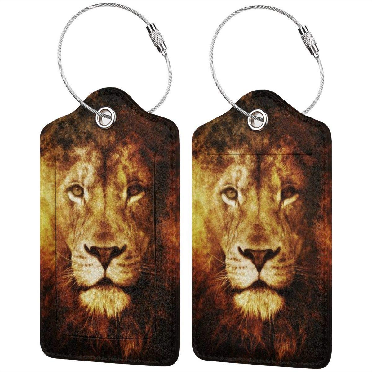 Lion Face Luggage Tag Label Travel Bag Label With Privacy Cover Luggage Tag Leather Personalized Suitcase Tag Travel Accessories