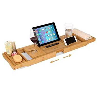HOMFA Bamboo Bathtub Tray Bath Table Adjustable Caddy Tray with Extending Sides, Cellphone Tray and Wineglass Holder