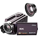Camcorders, Ablue 4K Ultra-HD Portable 30FPS Wifi Digital Video Camera, IR Night Vision Camcorder with Wide Angle Lens and Macro Lens
