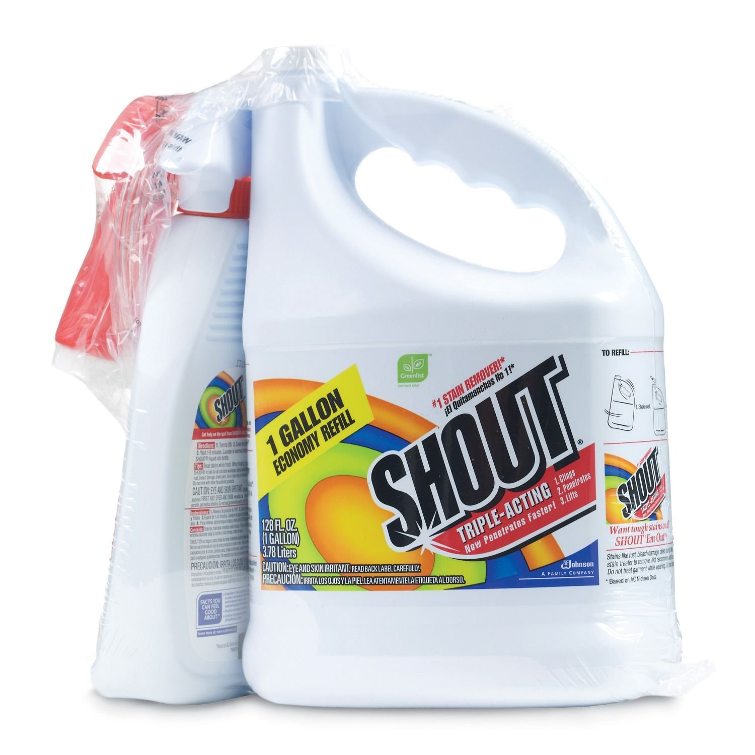 Amazon.com: Shout Stain Remover with Extendable Trigger Hose (128 oz. + 22 oz.): Home & Kitchen