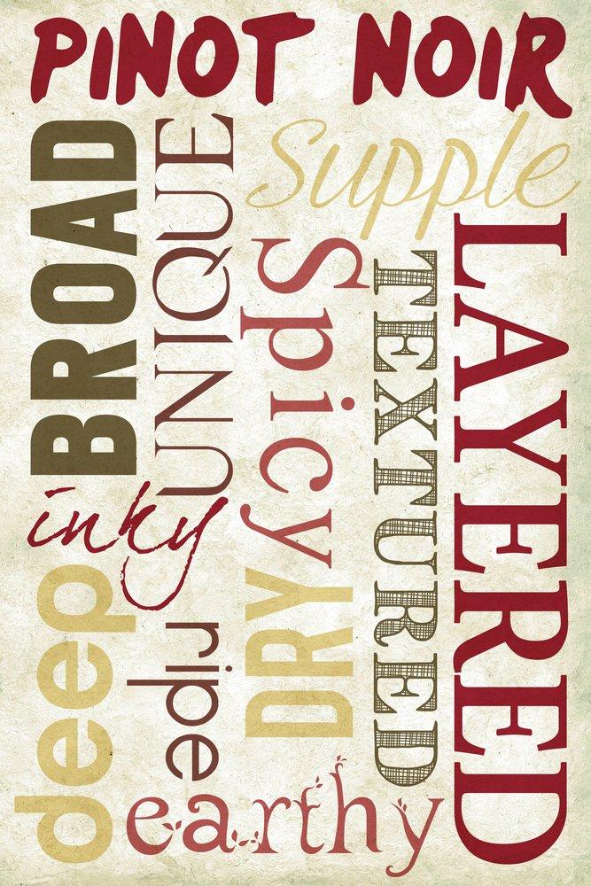 Pinot Noir Typography 36 x 54 Giclee Print LANT-49297-36x54 36 x 54 Giclee Print  B017EA18OA
