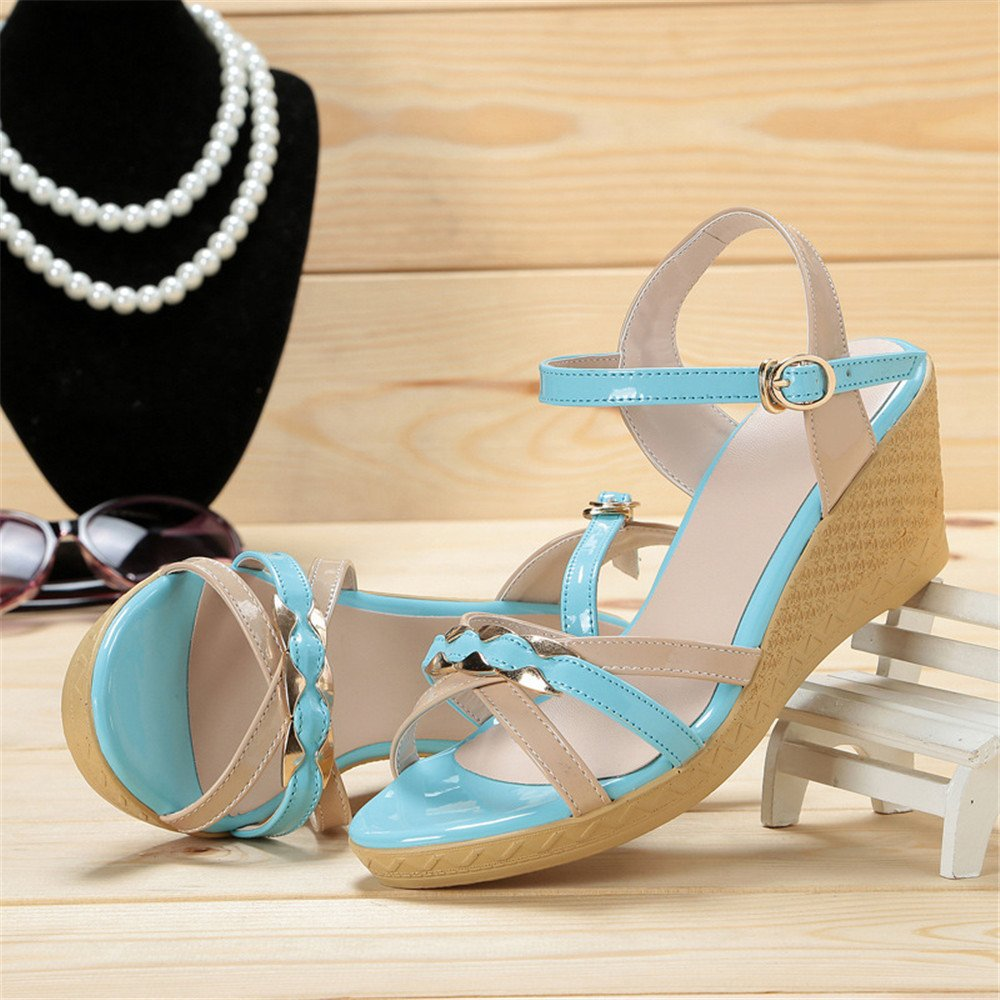 High Heels Größe Adult Lady Leder Größe Heels 22,5 cm bis 25,5 cm blau Sommer leichte Erhöhung Keilabsatz (Größe : 40 EU) - 34d0e0