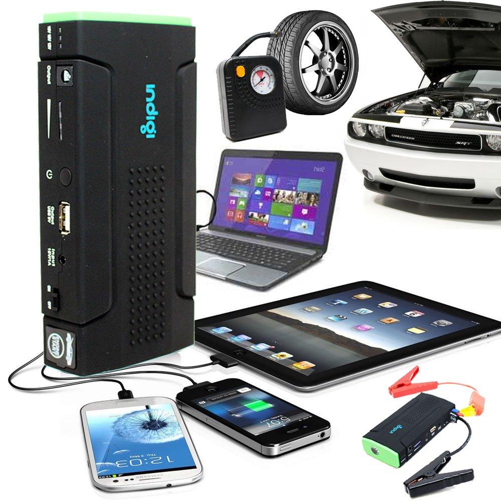 Indigi 12800mAh Power Bank iPhone Tablet Laptop Camera Emergency Car Jump Starter Tire Compressor by inDigi