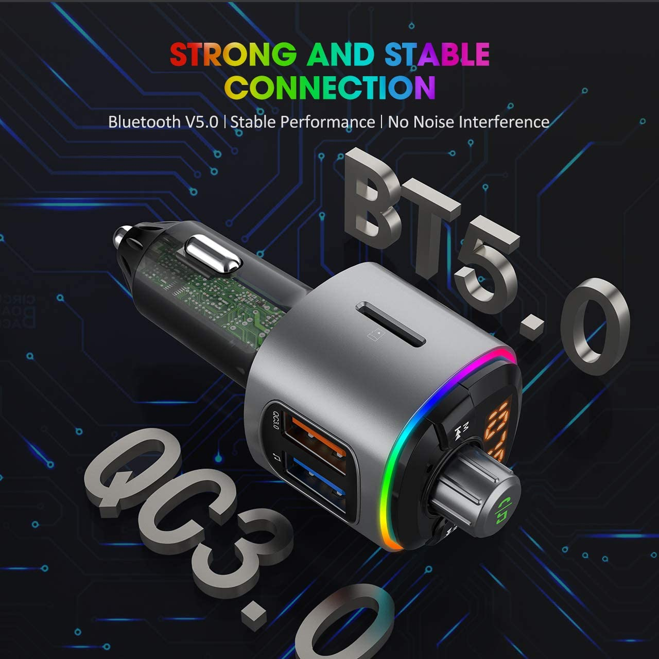 Support U-Disk//TF Card 9 Color Modes Wireless In-Car Fm Radio Adapter with Real Dynamic RGB Bluetooth Car Kit Quick Charge 3.0 Dual USB Ports VicTsing FM Transmitter for Car Bluetooth 5.0 Siri Voice Assistant Hands-Free Calls