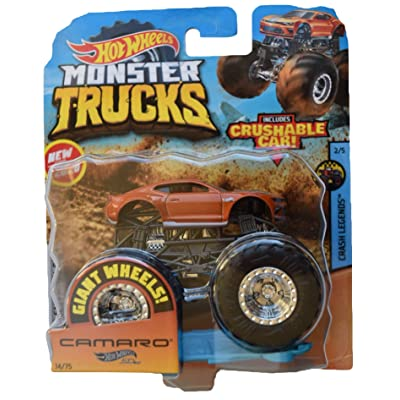 Hot Wheels Monster Trucks 1:64 Scale Camaro 1/75 Crushable car, Burnt Orange: Toys & Games