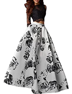 5e6746bca3c Vanial Women s Black Lace Prom Dress Floral Satin Formal Evening Gowns with  Sleeves V245