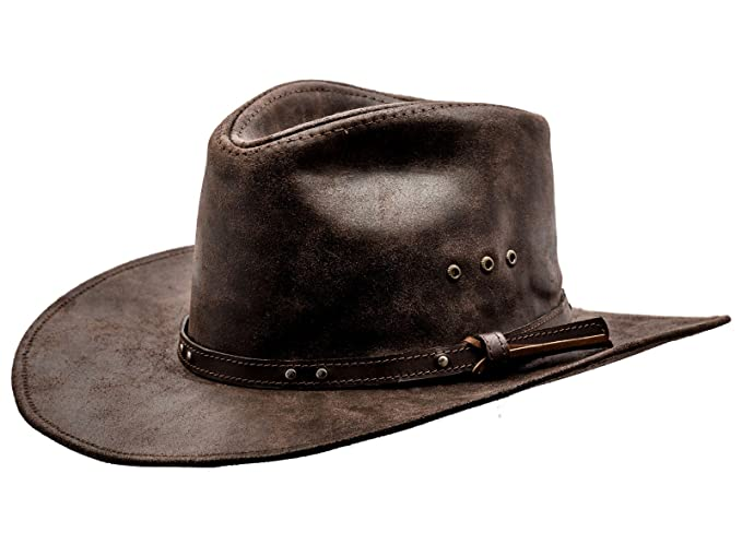 16047e19bd8 Sterkowski Cattle Leather Classic Western Cowboy Outback Hat US 7 5 8  Brown  Amazon.ca  Clothing   Accessories