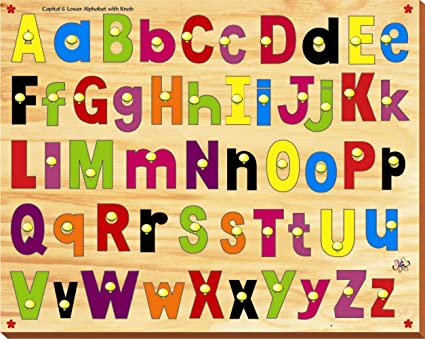 Kinder Creative-KCL-14-Combined Capital & Lower Alphabet with Knob(Multicolour)