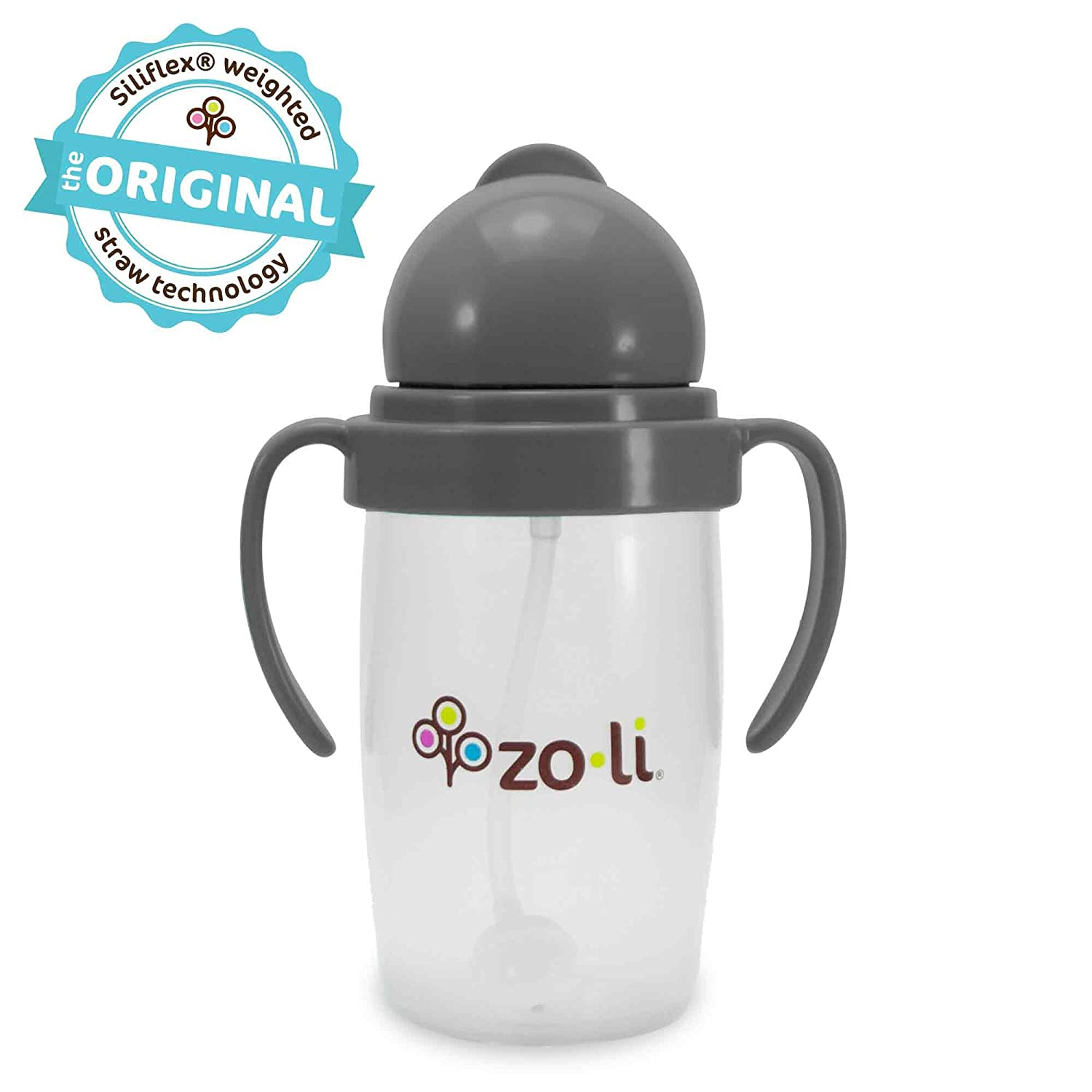 ZoLi BOT 2.0 | Siliflex Weighted Straw Sippy Cup, 10 Ounces Grey