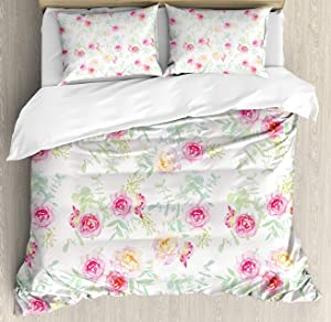 BedBed UP Watercolor Flower 3 Pieces Queen Bedding Sets, Home Comforter Duvet Quilt Cover Sets, 2 Decorative Pillowcases, Bedspread for Childrens/Kids/Teens/Adults(Soft Colored Roses Vintage Old Sty)