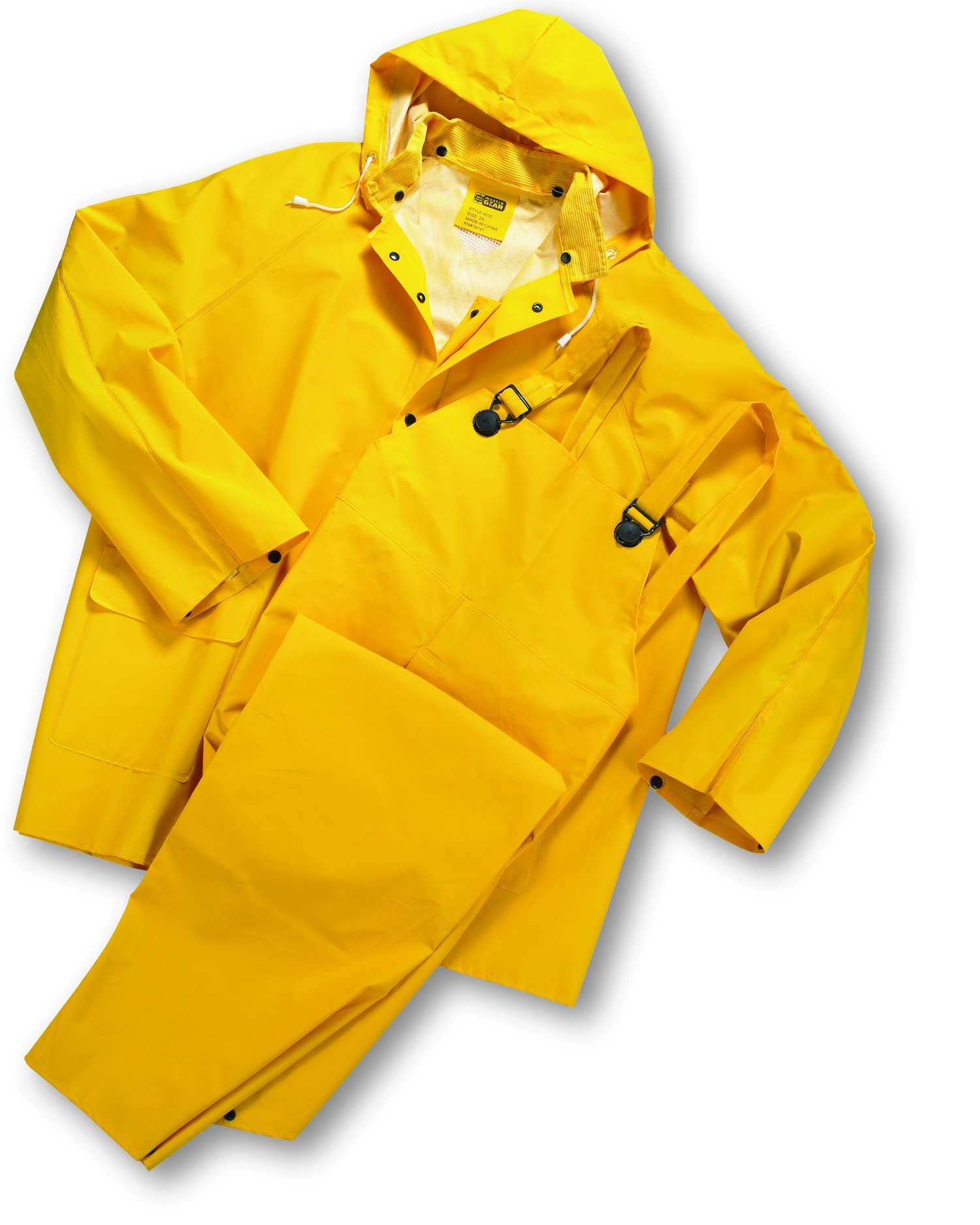 West Chester 4035FR/L 35 ml PVC Over Polyester 3 pcs Rainsuit - Flame Resistant, Yellow, Large (1 Suit)