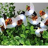 Ape Luce Della Stringa,KINGCOO Impermeabile 30 Led Bumble Bee Shape Lampada Solare Luci a Corda Leggiadramente Catene Luminose Esterno per Decorazione Natalizia Matrimoni All'aperto Giardino (Bianco)