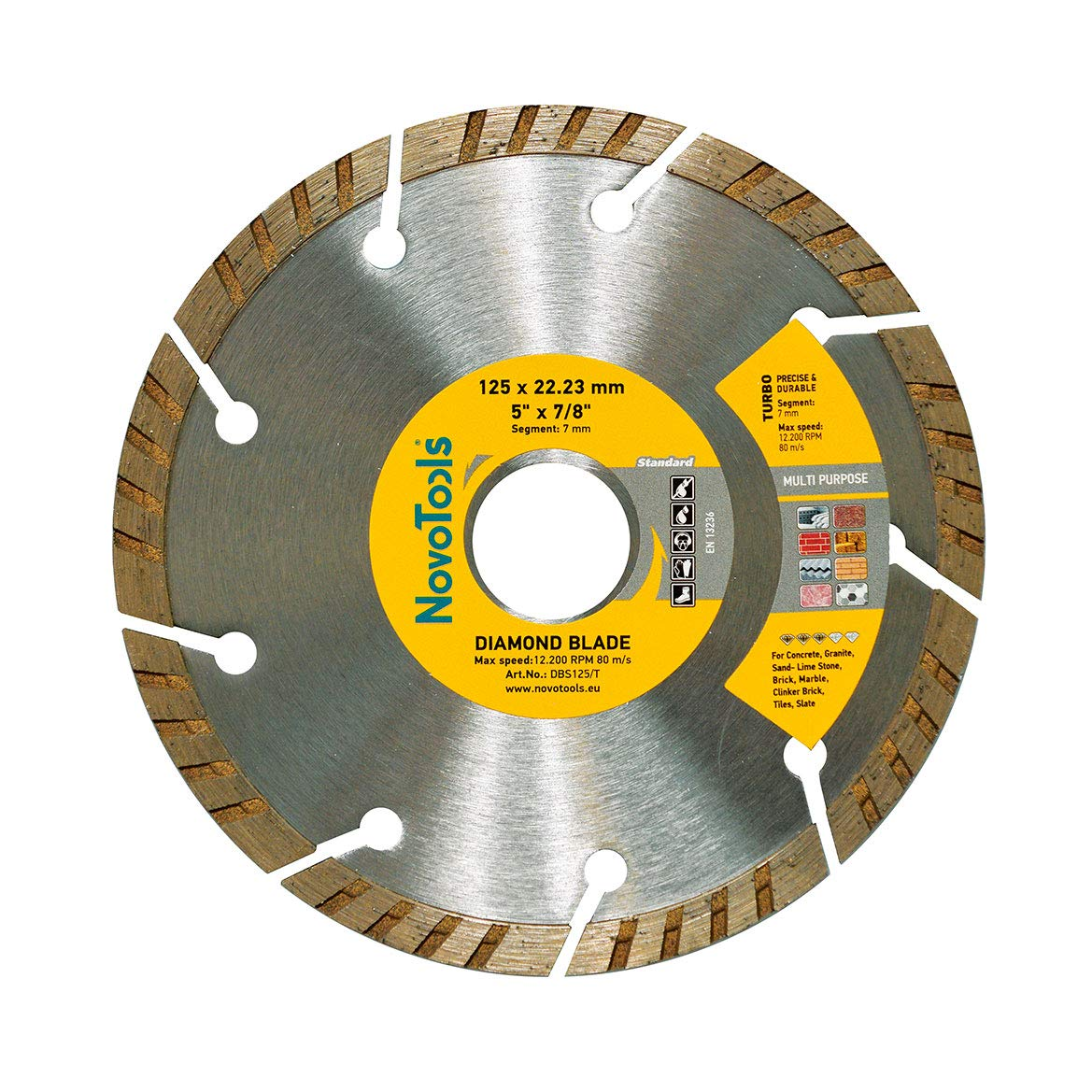 Blade 115 x 22.2mm NOVOTOOLS Diamond Continuous Porcelains Tile Universal Cutting Diamond Disc for Angle Grinder for All Types of Ceramic Tiles
