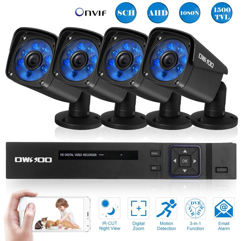 OWSOO 防犯カメラ セット 8CHフル1080N AHD DVR +4 * 720P赤外線弾丸カメラ(100万画素)+4 * 60ftケーブル ナイトビジョン Android / iOS APP動き検出ナイトビジョンNTSCシステム日本語システム支持 AHD +アナログ+ TVI + CVI + XVI + IPC 6-in-1機能 B074161SVT 8CH|4*720P カメラ 4*720P カメラ 8CH