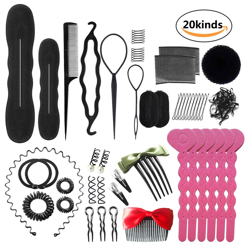 COASTAR Hair Styling Design Accessories Set Fashion Hair Modeling Tool Kit Set DIY Magic Simple Fast Spiral (Pink)