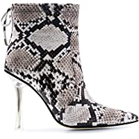ISNOM Women's Thick Heel Round Toe Low Platform Fringed Ankle Boots