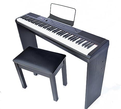 Artesia PA88 W 88 Key Portable Digital Piano (Black) Bundle With Furniture