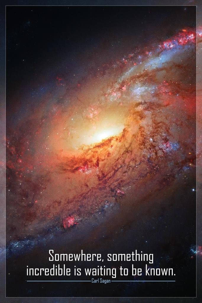 Somewhere Something Incredible is Waiting To Be Known Carl Sagan Famous Motivational Inspirational Quote Solar System Outer Space Universe Constellation Hubble Stretched Canvas Art Wall Decor 16x24