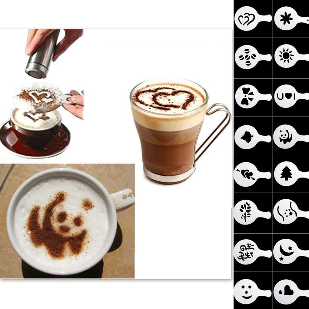 Coffee Barista Stencils Modèle Strew Pad Duster Spray Omkuwl