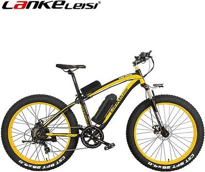 lankeleisi XF4000 nieve bicicleta Gros neumáticos bicicleta de montaña Motor 500 W 48 V 7 velocidades li-batterie Puissant e-vélo eléctrica bicicleta todo terreno, negro y amarillo: Amazon.es: Deportes y aire libre