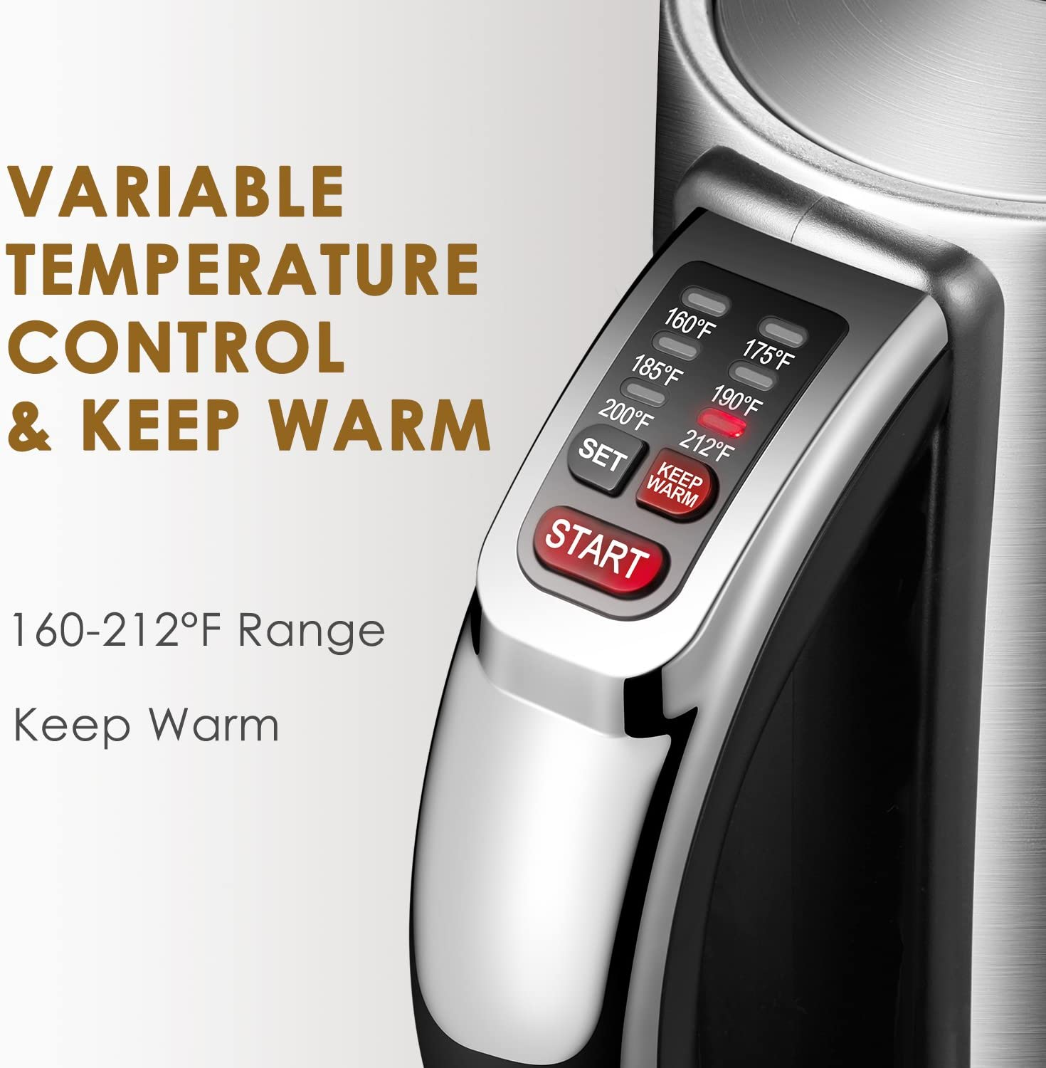 Electric kettle, Aicok Temperature Control kettle with 2 Hours Keep Warm Function, 1.7L Food Grade Stainless Steel Water Boiler, Double Water Indicator, BPA Free, 2200W, 2 Year Warranty