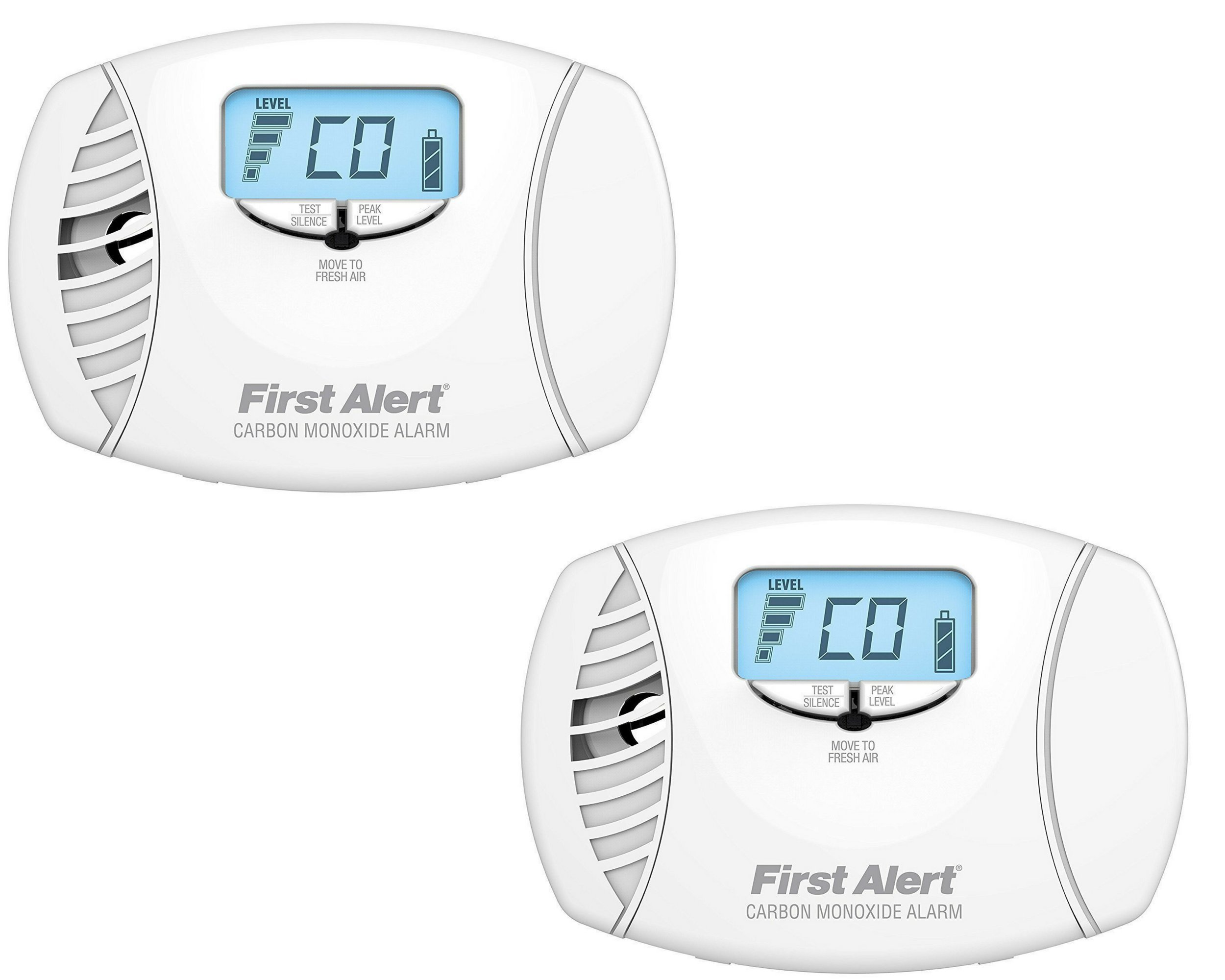 First Alert CO615 Dual-Power Carbon Monoxide Plug-In Alarm with Battery Backup and Digital Display (2 Pack)