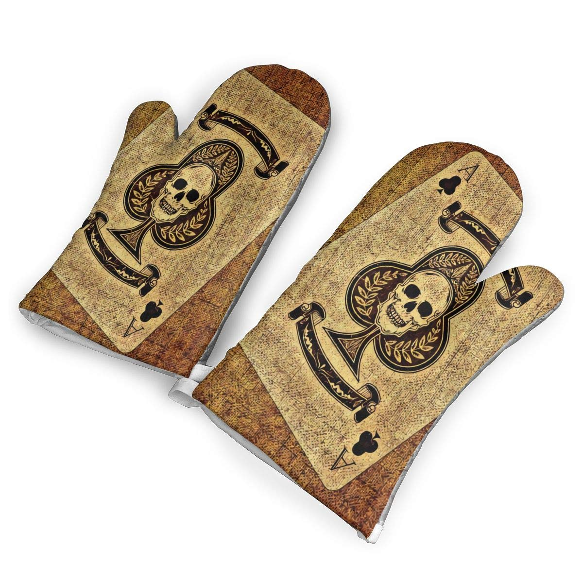 not Plum Card A Skull Oven Mitts with Polyester Fabric Printed Pattern,1 Pair of Heat Resistant Oven Gloves for Cooking,Baking,Grilling,Barbecue Potholders
