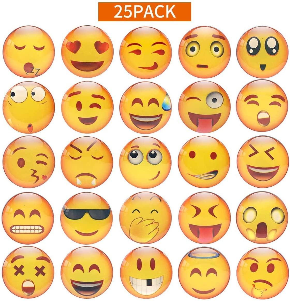 Emoji Magnets for Fridge Refrigerator Decorative 3D Lockers Whiteboards Office Kitchen Cute Funny Gifts for Kids Toddlers and Adults 25Pcs