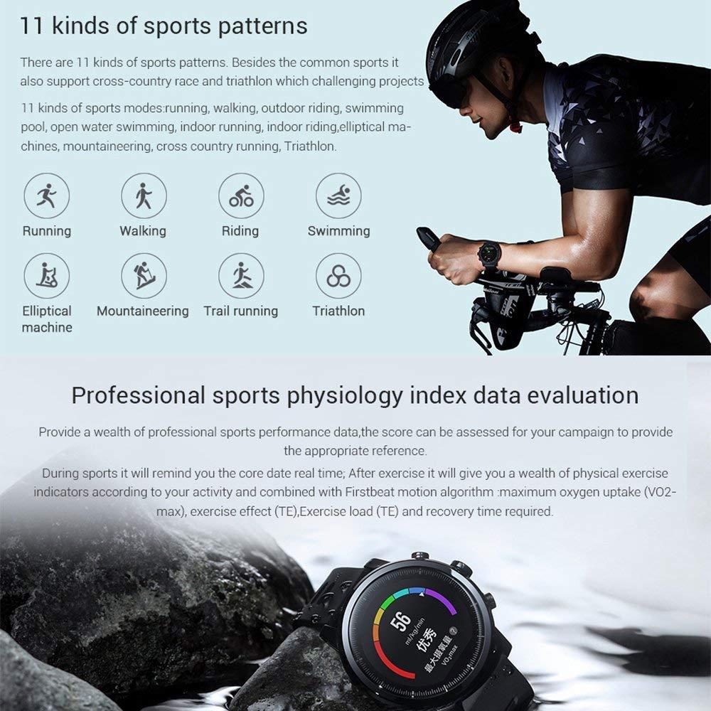 Amazfit Stratos 2 Xiaomi Smartwatch Reloj Inteligente Monitor de Actividad Pulsómetro GPS Running Natación Bluetooth Versión Internacional Negro