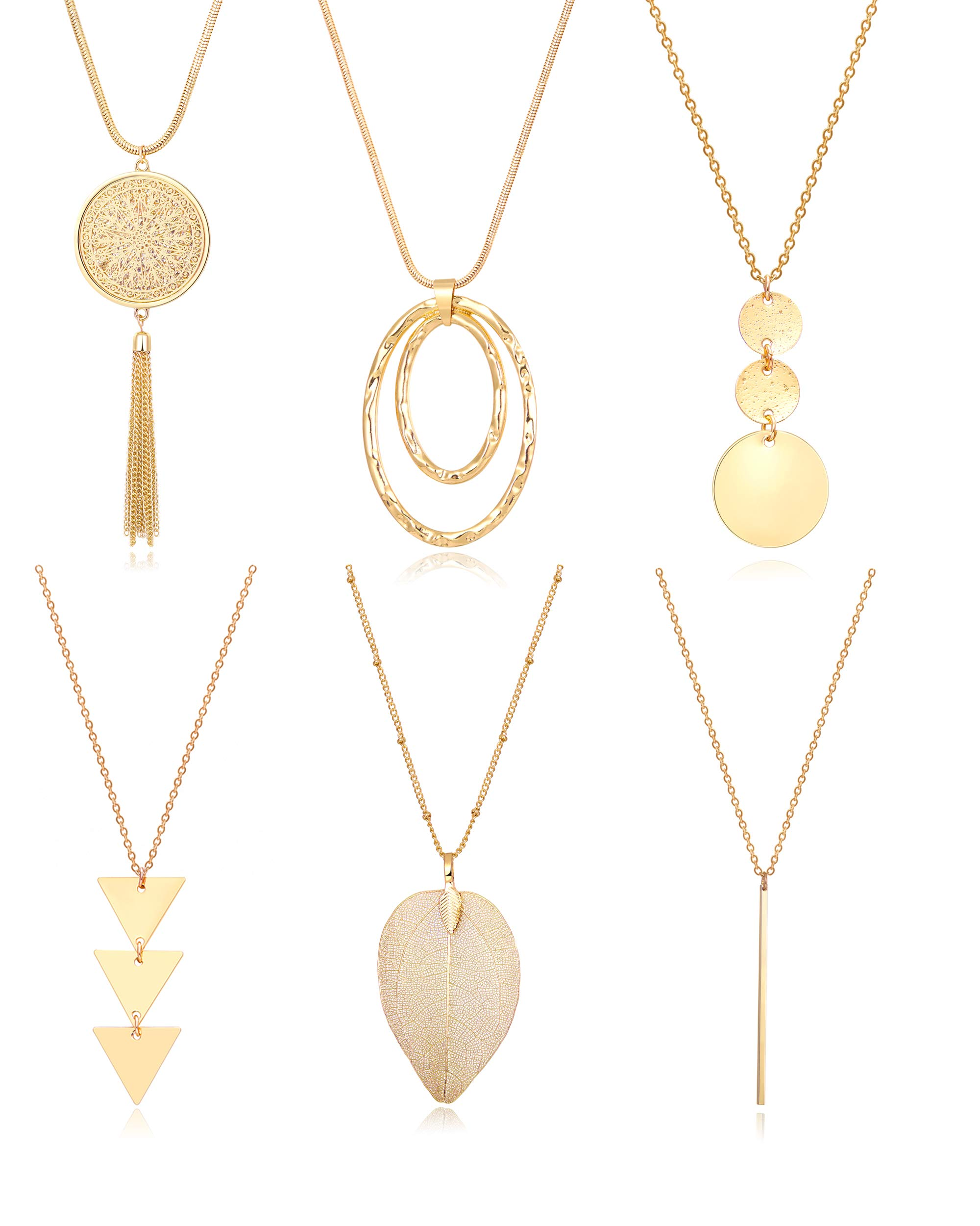 Fesciory 6 PCS Long Pendant Necklace for Women Gold Bar Circle Leaf Triangle Tassel Y Necklace Set for Girls