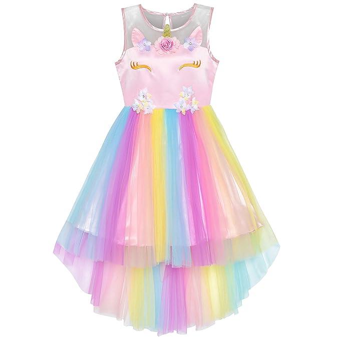06f4bf02a Sunny Fashion Vestido para niña Flor Unicornio Arco Iris Princesa Fiesta 6  años