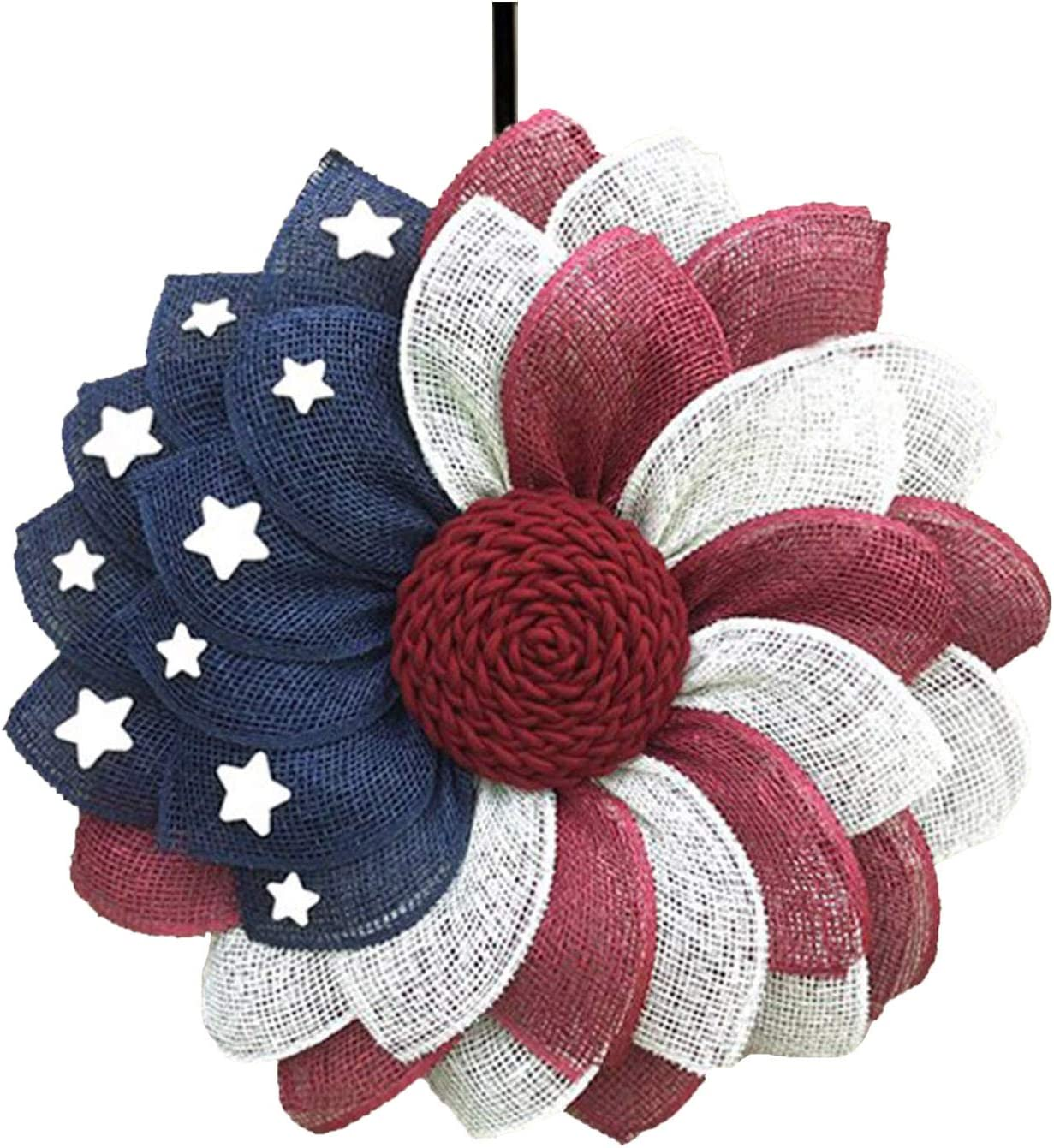 Front Door Wreaths for Spring and Summer Patriotic Artificial Garland Hanging Pendants Independence Day Decoration Wreath 4th of July Memorial Day Decor for Home Porch Decoration Wall Outside