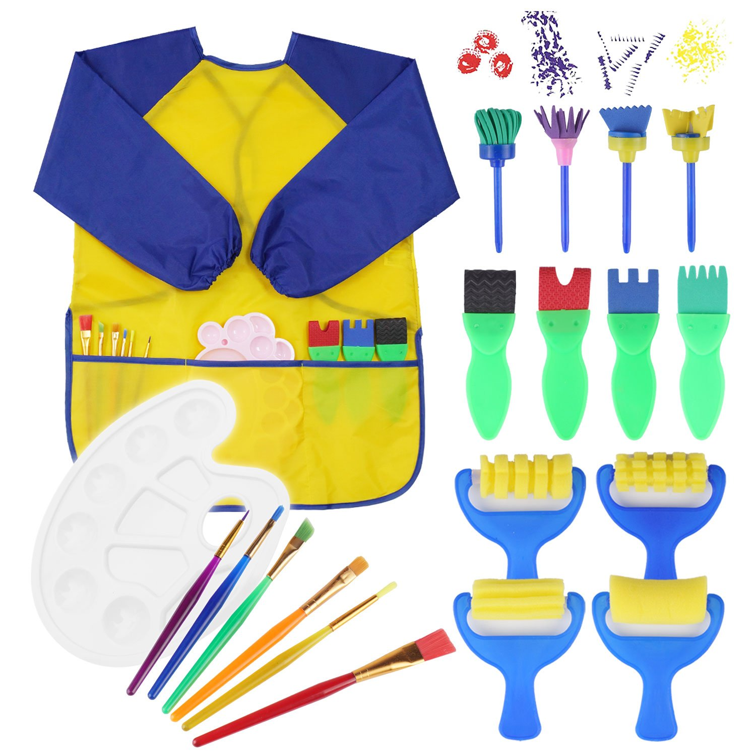 JVIGUE 20 Pieces Painting Brushes Sponge Drawing Brush Set with Palette and Apron Painting Tools (Yellow)