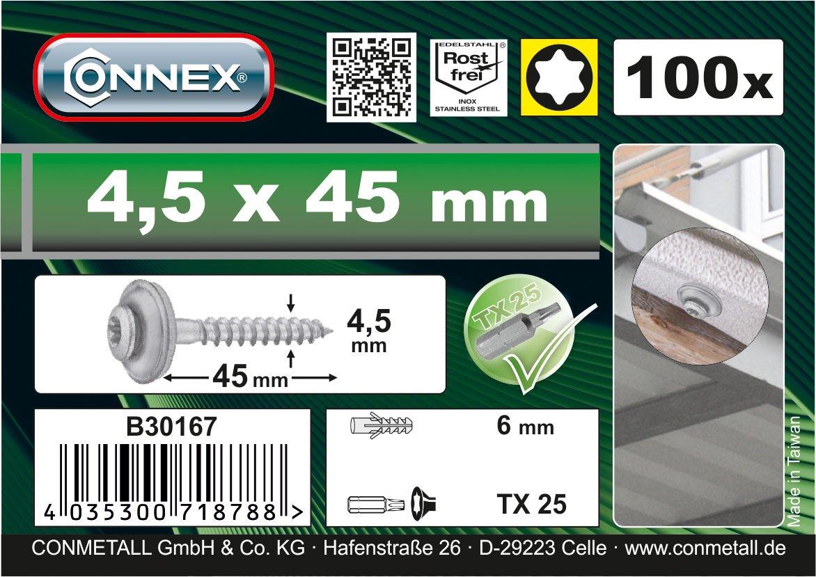 CON:P B30167 - Viti Torx da meccanico, 4,5 x 45 mm, con anelli di guarnizione, in acciaio INOX, A2, 100 pz, con una punta